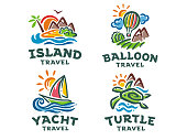 Vector set of 4 signs. Travel illustration.