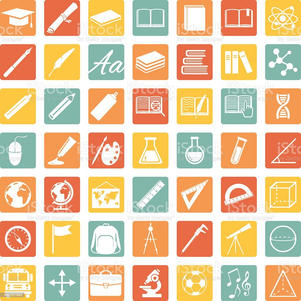 Vector Set of 49 Education Icons. School and University. vector art illustration