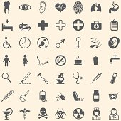 Vector set of 49 medical icons