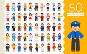 Vector set of 50 different professions in cartoon style. Male and female professions.