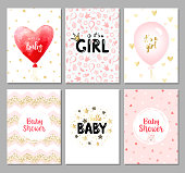 It's a girl card. Hello baby card. Vector invitation with cute pattern, balloon, gift. Baby arrival and shower collection.