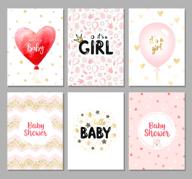 Vector set of 6 color baby shower cards for girls. It's a girl card. It's a girl card. Hello baby card. Vector invitation with cute pattern, balloon, gift. Baby arrival and shower collection. it's a girl stock illustrations