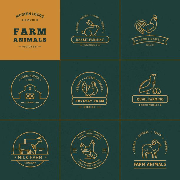 bildbanksillustrationer, clip art samt tecknat material och ikoner med vektor uppsättning av 8 gård logotyper gjorda i en linjär stil - fjäderfä