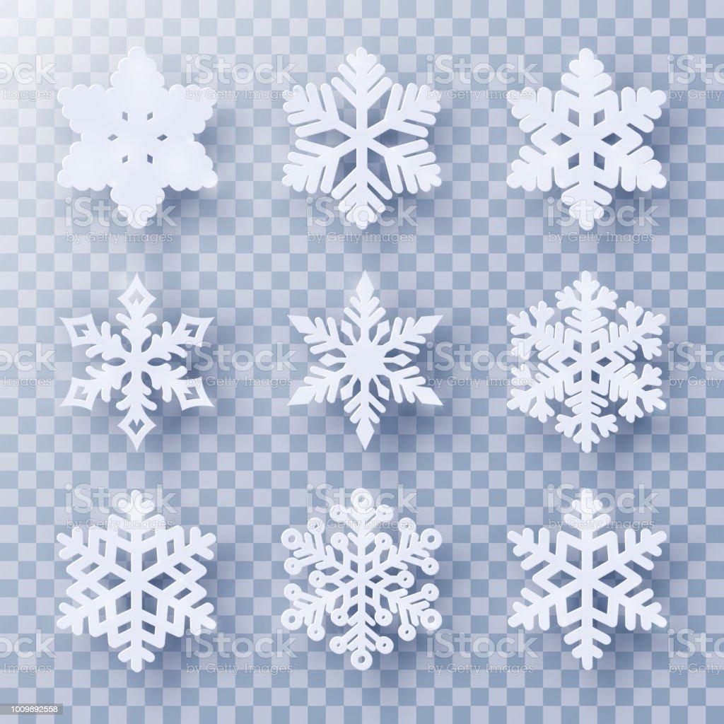 Top Vektorset 9 Papier Schneiden Schneeflocken Mit Schatten Stock PS13