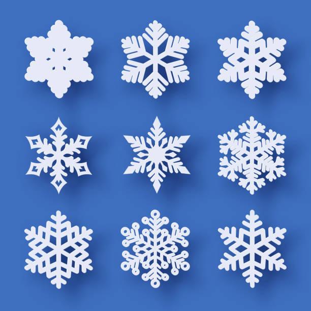 stockillustraties, clipart, cartoons en iconen met vector set van 9 papier knippen sneeuwvlokken met schaduw - snowflakes