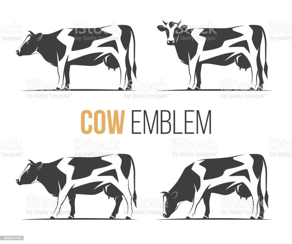 スタイリッシュな斑点を付けられたホルスタイン種乳牛のベクトルを設定し