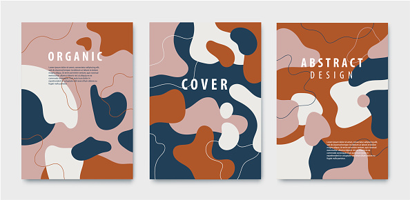 Vector set of abstract backgrounds, covers with organic, fluid shapes and hand draw line in earth nude colors. Modern design template with space for text. Minimal stylish posters, banners, flyers