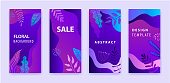 Vector set of abstract backgrounds, story for social net. Floral wavy sale banners, purple gradient bright vibrant posters, cover design templates, media stories wallpapers with leaves and flowers