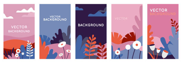 Vector set of abstract backgrounds with copy space for text - bright vibrant banners, posters, social media stories vector art illustration