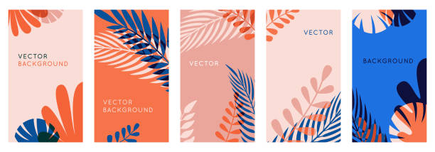 Vector set of abstract backgrounds with copy space for text, leaves and plants - social media stories wallpapers in minimal trendy style vector art illustration