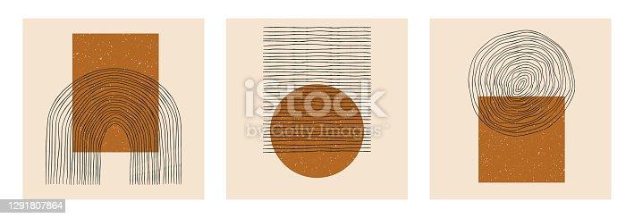 Conjunto vectorial de carteles abstractos de diseño geométrico minimalista boho.  Tarjetas creativas de plantilla de moda con composiciones de forma primitiva para decoración de pared, postal, folleto, portada, medios