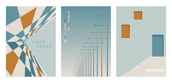 Vector set of abstract covers. Modern landscape architecture background pattern