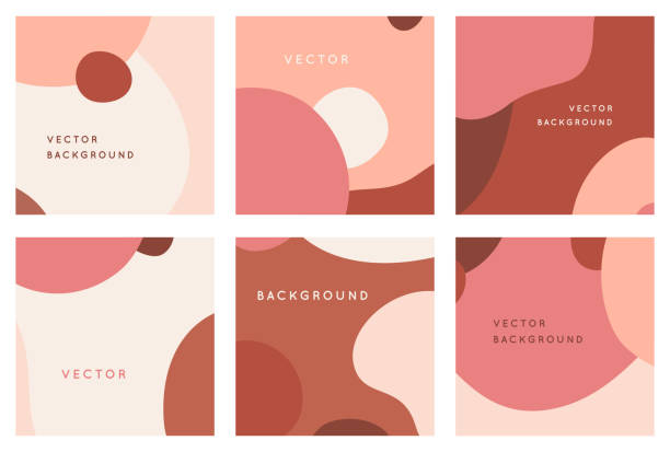 Vector set of abstract creative backgrounds in minimal trendy style with copy space for text - design templates for social media posts and stories vector art illustration