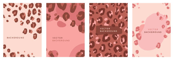 Vector set of abstract creative backgrounds in minimal trendy style with copy space for text with leopard print  - design templates for social media stories vector art illustration