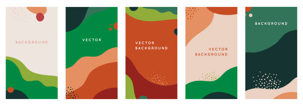 Vector set of abstract creative backgrounds in minimal trendy style with copy space for text - design templates for social media stories - simple, stylish and minimal wallpaper designs for invitations, banners, covers, flyers, packaging vector art illustration
