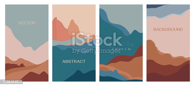 Vector set of abstract creative backgrounds in minimal trendy style with copy space for text - design templates for social media stories - simple, stylish and minimal wallpaper designs for invitations, banners, covers, flyers, packaging