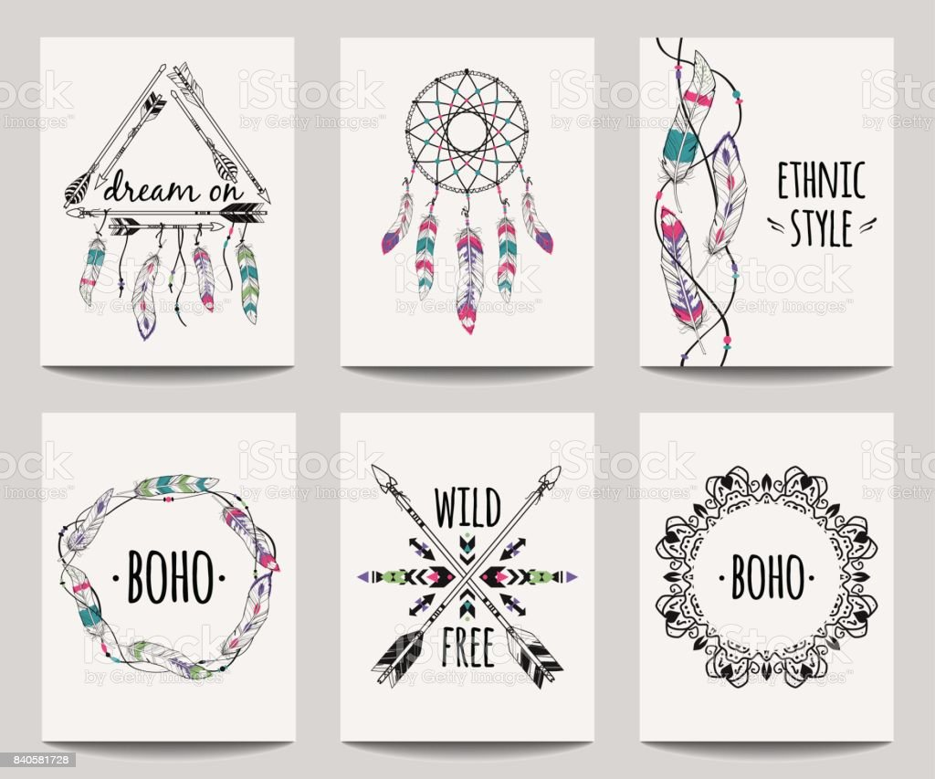 Vector set of abstract ethnic flyers with arrows, dreamcatcher, feather frames. Boho design brochure templates. Modern colorful tribal backgrounds. vector art illustration