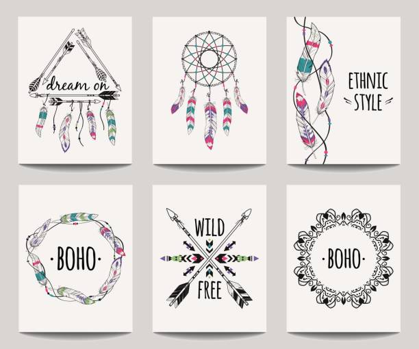vector set of abstract ethnic flyers with arrows, dreamcatcher, feather frames. boho design brochure templates. modern colorful tribal backgrounds. - bohemian fashion stock illustrations, clip art, cartoons, & icons