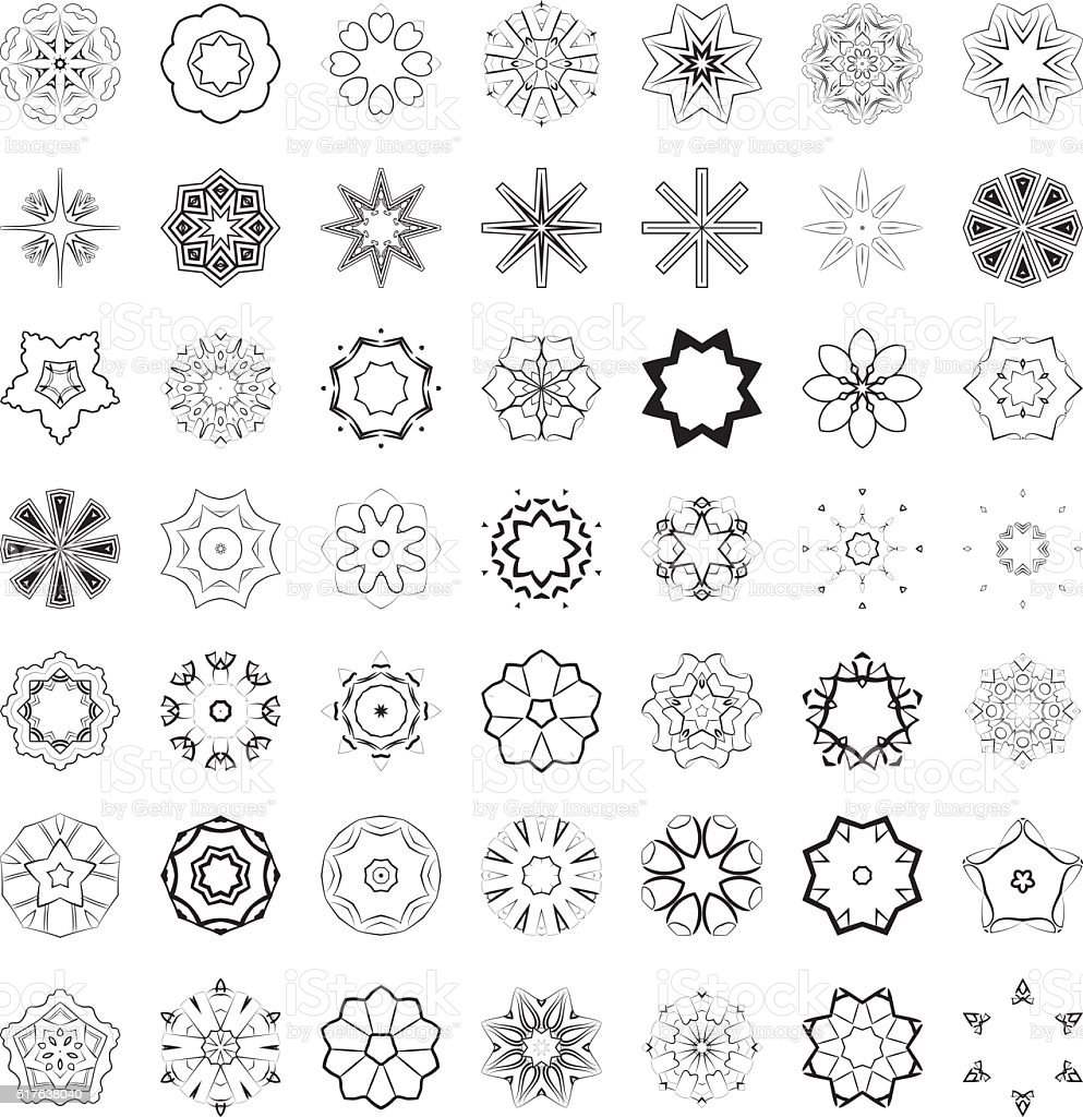 Ilustración de Vector Conjunto De Patrones Florales Abstractos Y ...