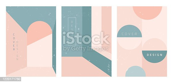 Vector set of abstract geometric covers. Architecture abstraction. Modern backgrounds with copy space for text. Creative geometry pattern template. Trendy design for banner, social media, poster