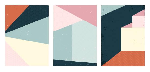 bildbanksillustrationer, clip art samt tecknat material och ikoner med vektoruppsättning av abstrakta geometriska omslag. bakgrundsmönster för modern arkitektur - konststilar