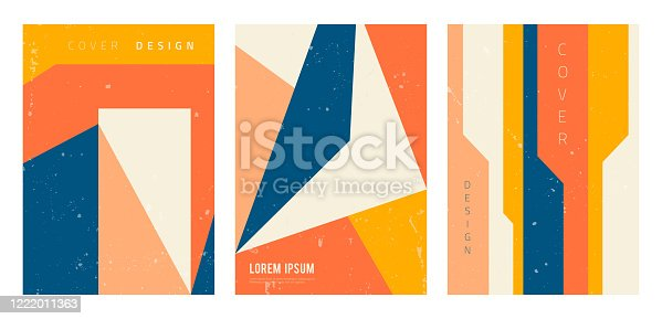 Vector set of abstract geometric covers. Modern backgrounds with copy space for text. Creative geometrical pattern template. City architecture abstraction. Trendy design for banner, social media