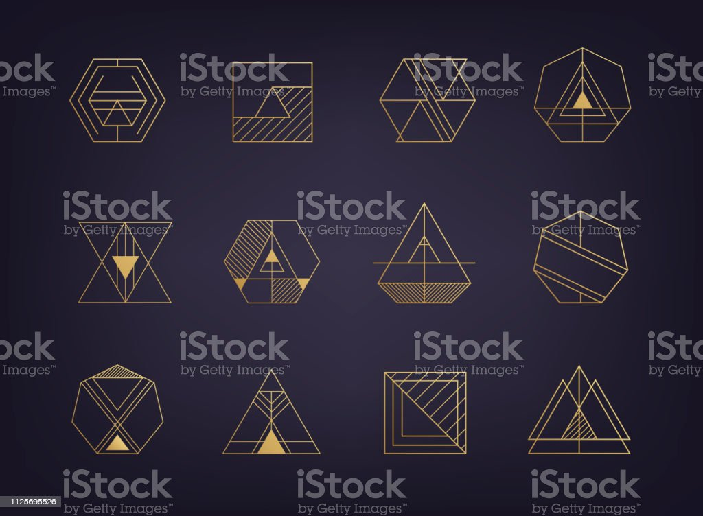Vector set of abstract geometric signs. Art deco, hipster, golden royalty-free vector set of abstract geometric signs art deco hipster golden stock illustration - download image now