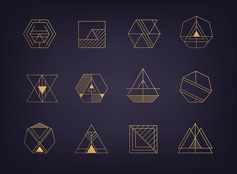 Vector set of abstract geometric signs. Art deco, hipster, golden