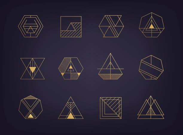 bildbanksillustrationer, clip art samt tecknat material och ikoner med vector uppsättning abstrakta geometriska tecken. art deco, hipster, golden - lyxig monogram