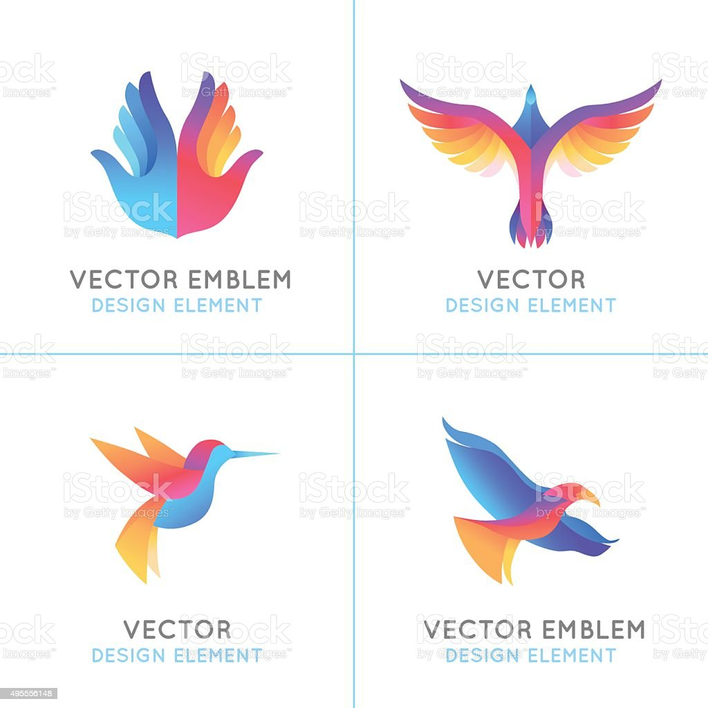 Vector set of abstract gradient emblems vector art illustration