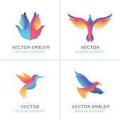 Vector set of abstract gradient emblems