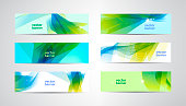 Vector set of abstract green and blue banners. Wavy, sunny summer backgrounds, headers