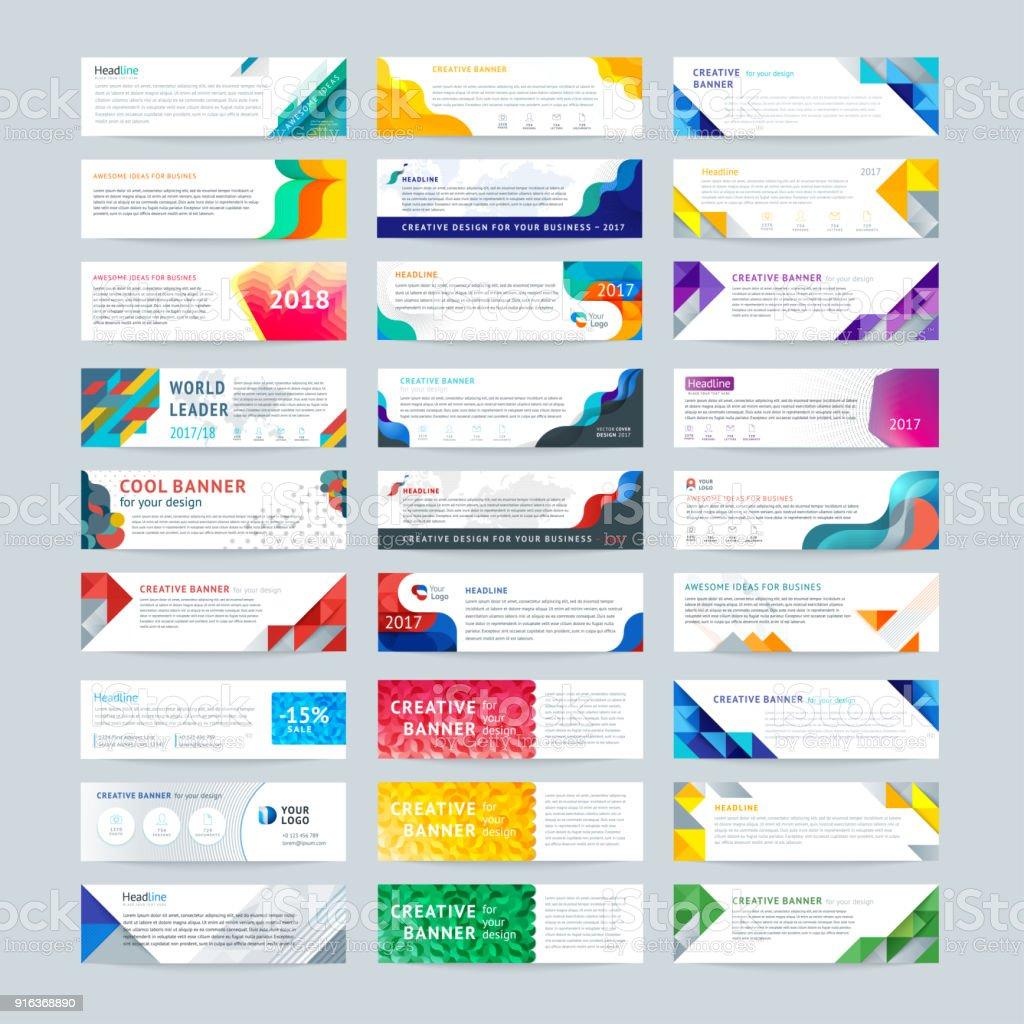 Vector set of abstract horizontal banner