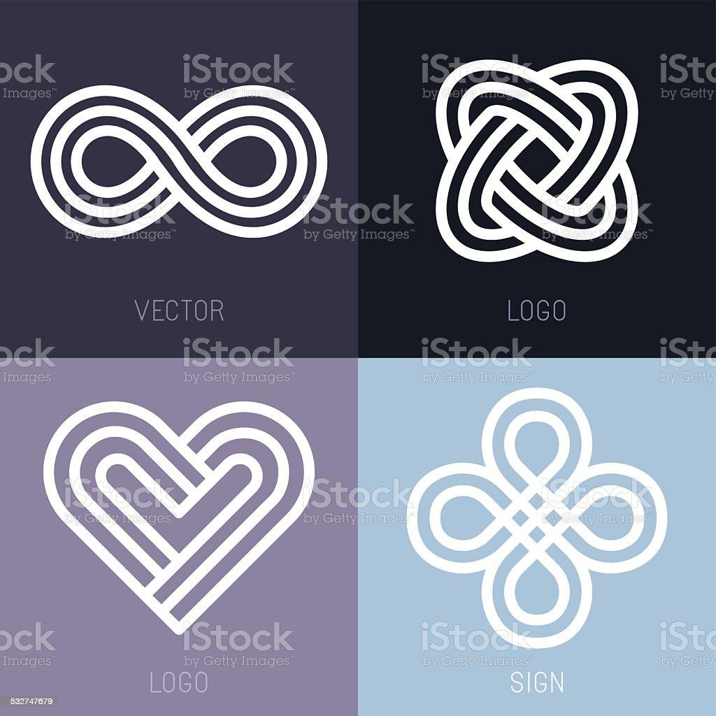 Vector set of abstract line logos vector art illustration