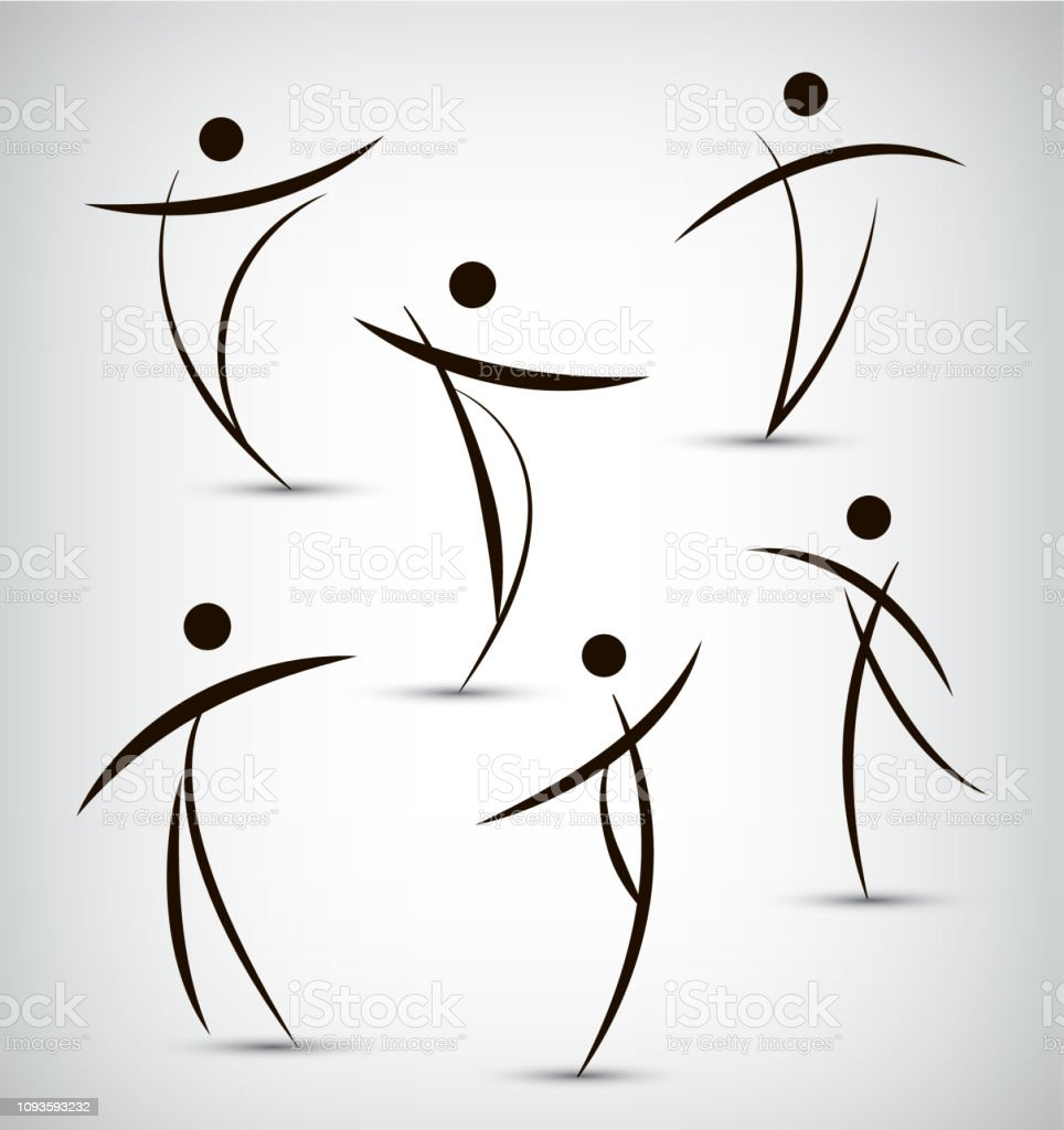vector set of abstract line man, sport, dance, figure, team icons...