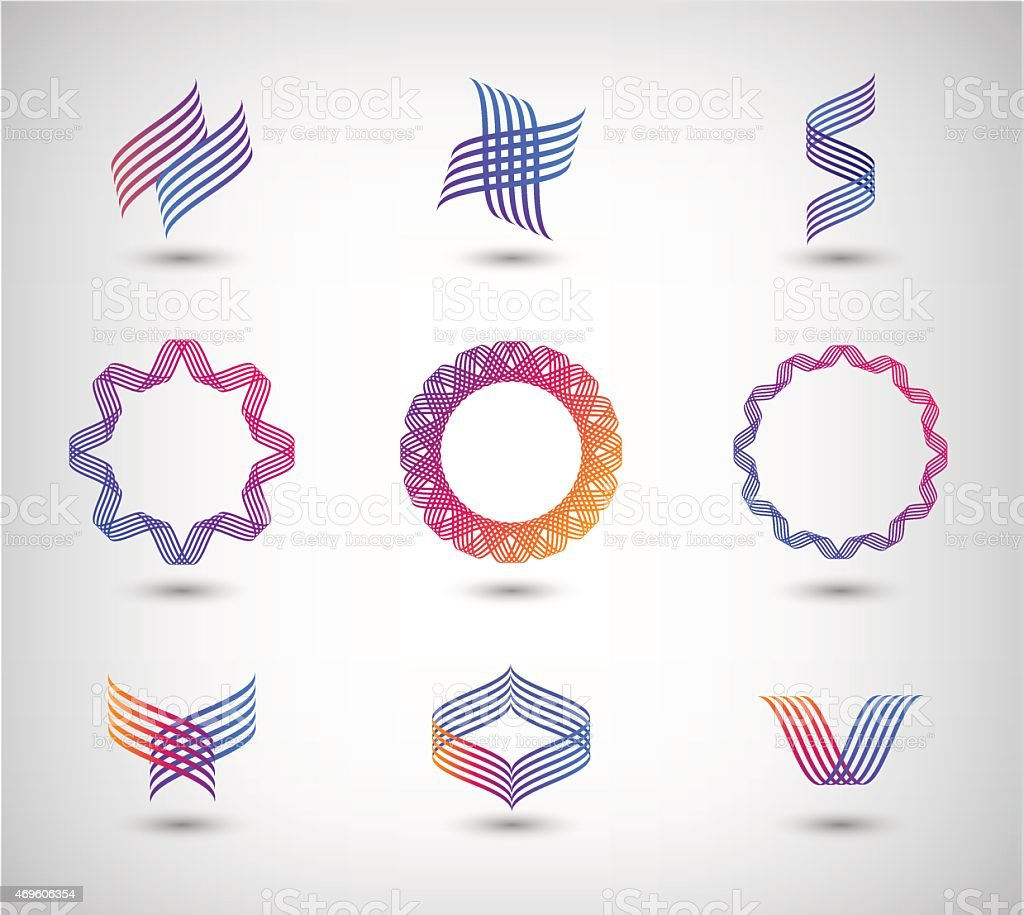 vector set of abstract line vector art illustration