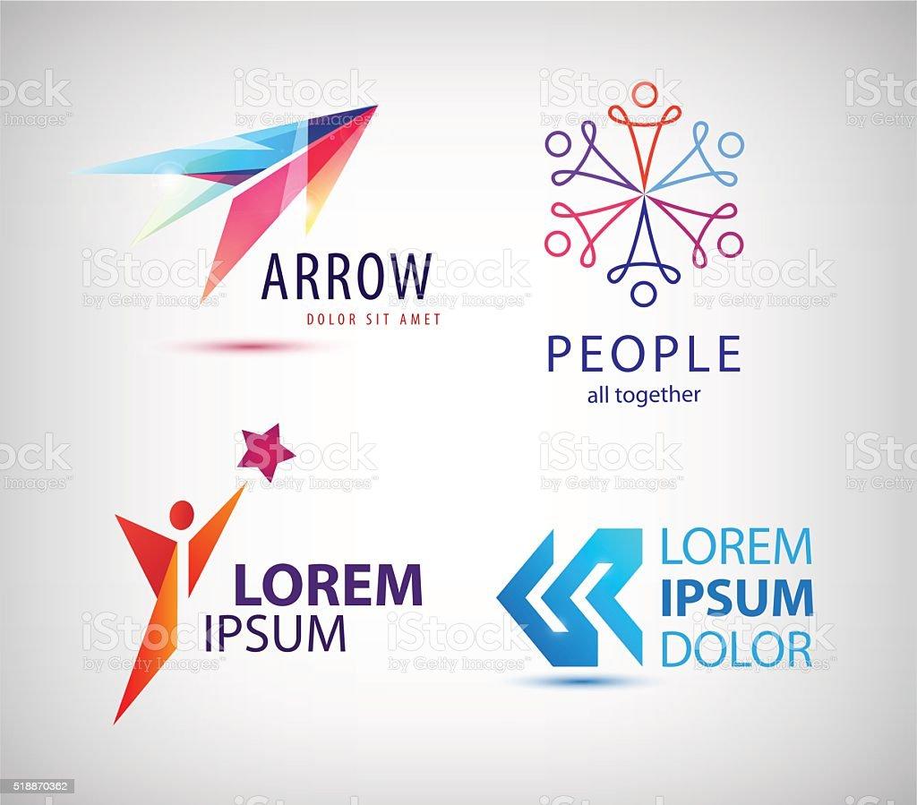 Vector set of abstract logo design, arrow vector art illustration