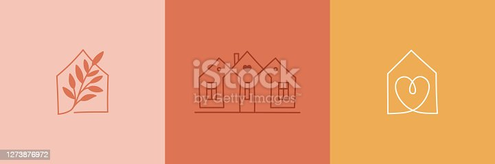istock Vector set of abstract logo design templates in simple linear style - cozy home emblems, houses and plants  stay at home - symbols for social media stories highlights and posts for interior stores and designers 1273876972