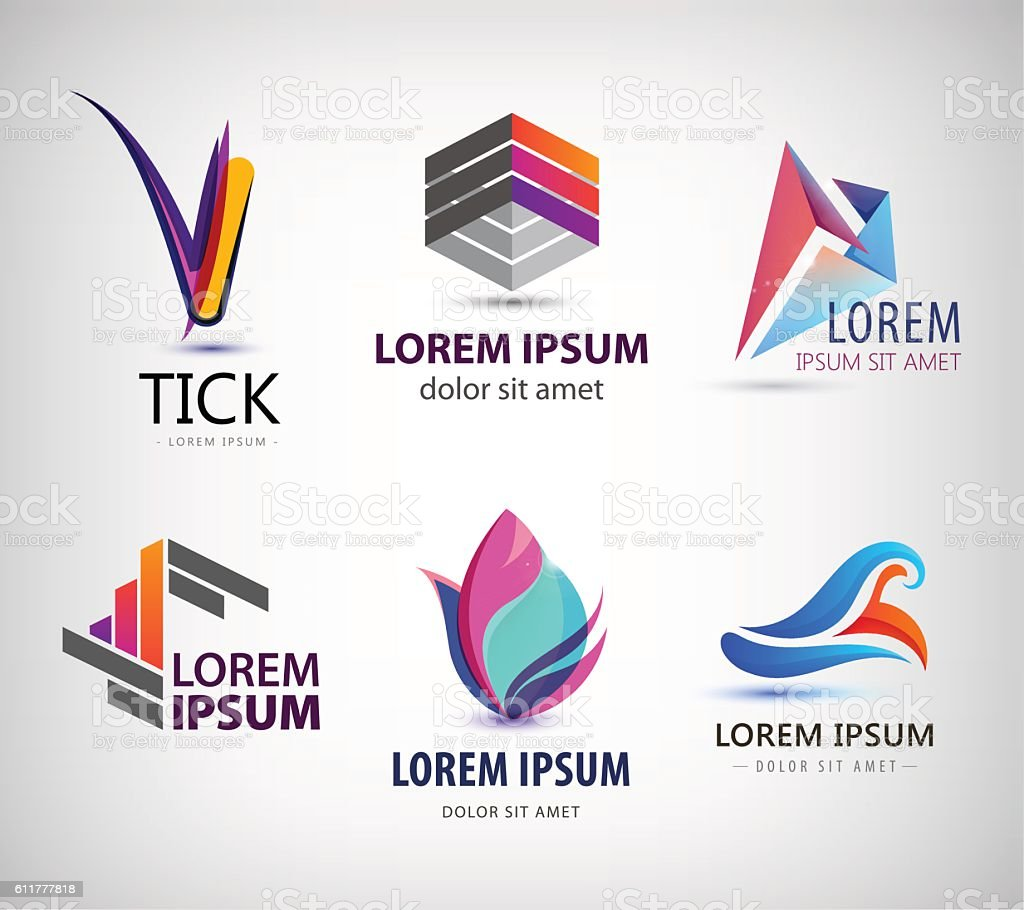 vector set of abstract logo design web icons 3d templates アイデ