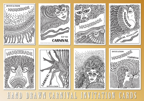 Vector set of abstract Masquerade, Mardi Gras holiday cards. Carnival Party invitation. Black and white hand drawn doodle sketch. Hand drawn ornaments, feathers, checkered texture