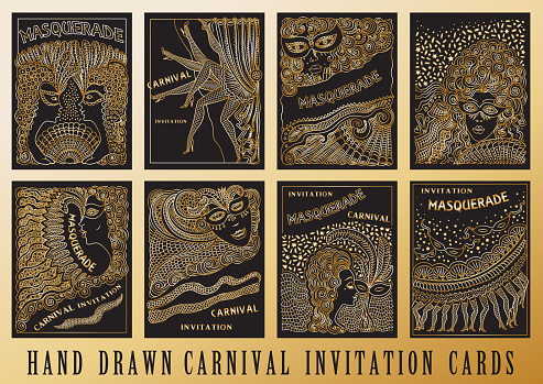 Vector set of abstract Masquerade, Mardi Gras holiday cards. Carnival Party invitation. Gold hand drawn doodle sketch on a black background. Hand drawn ornaments, feathers, checkered texture