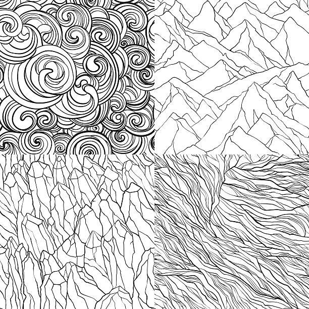 ilustraciones, imágenes clip art, dibujos animados e iconos de stock de vector conjunto de patrones abstractos - mármol roca