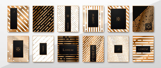 Vector set of abstract templates, luxury gold design. vector art illustration