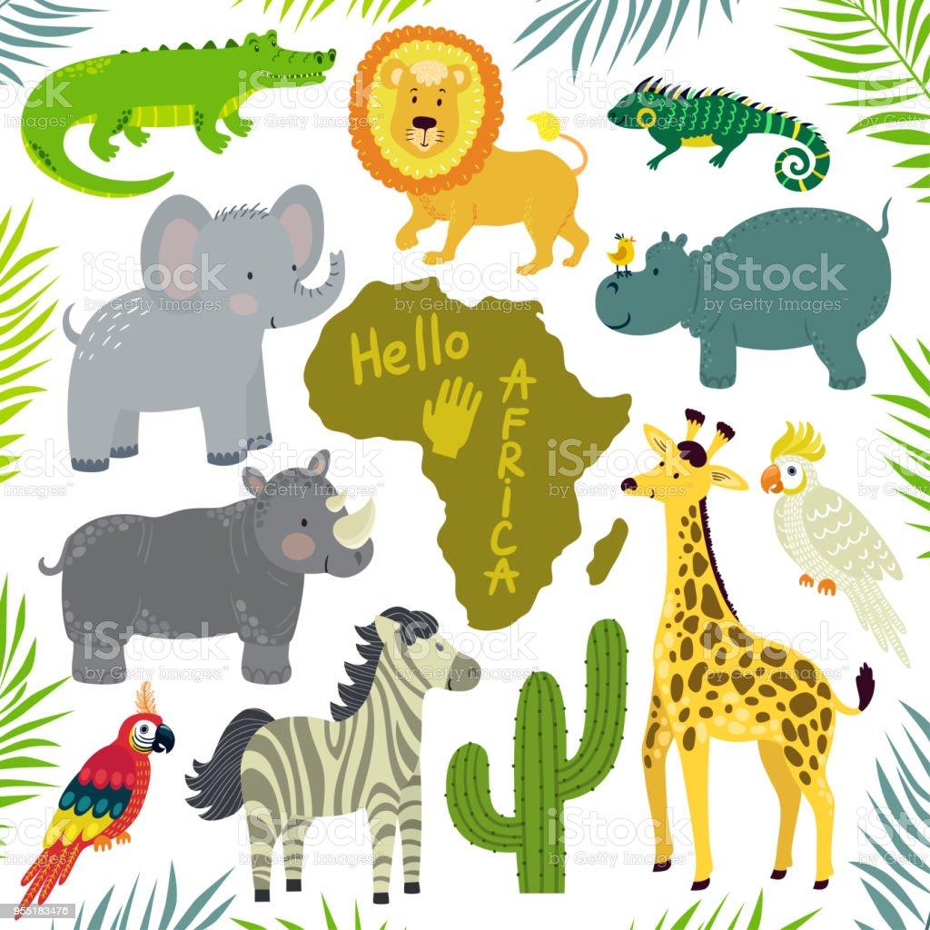 アフリカの動物の集合をベクトル 象キリンカバシマウマワニライオン