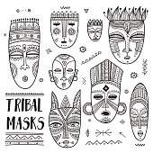 Vector set of African ethnic tribal masks with boho ornaments and ritual symbols.