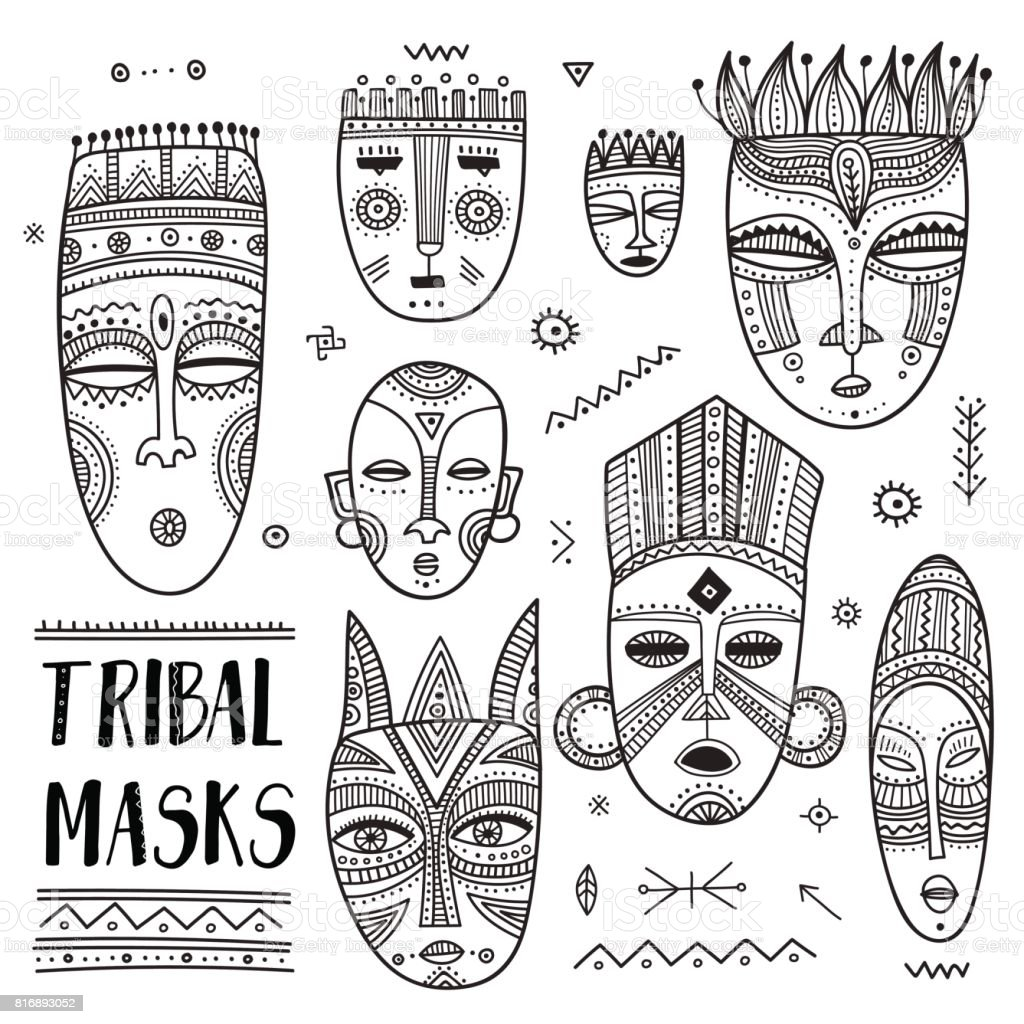 Vector set of African ethnic tribal masks with boho ornaments and ritual symbols. vector art illustration