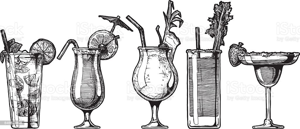 Vector set of alcohol cocktail vector art illustration