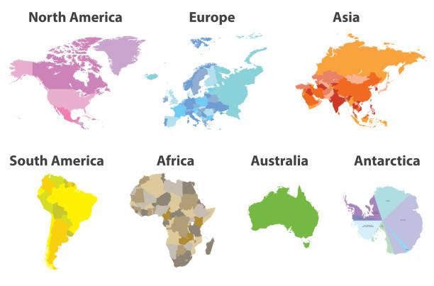 所有大陸的向量集合在白色背景下被隔絕的政治地圖 - 亞洲 幅插畫檔、美工圖案、卡通及圖標