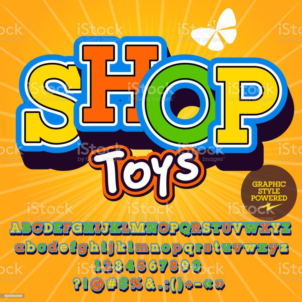 Vector conjunto de alfabeto, números y símbolos. Bonito cartel para tienda de juguetes - ilustración de arte vectorial