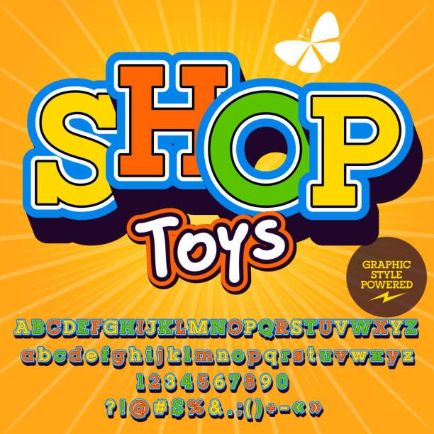 ilustraciones, imágenes clip art, dibujos animados e iconos de stock de vector conjunto de alfabeto, números y símbolos. bonito cartel para tienda de juguetes - tipos de letra de historietas